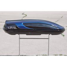 """Багажный бокс LEVEL (450 л) (черный с синими вставками ,расцветка """"Касатка"""")"""
